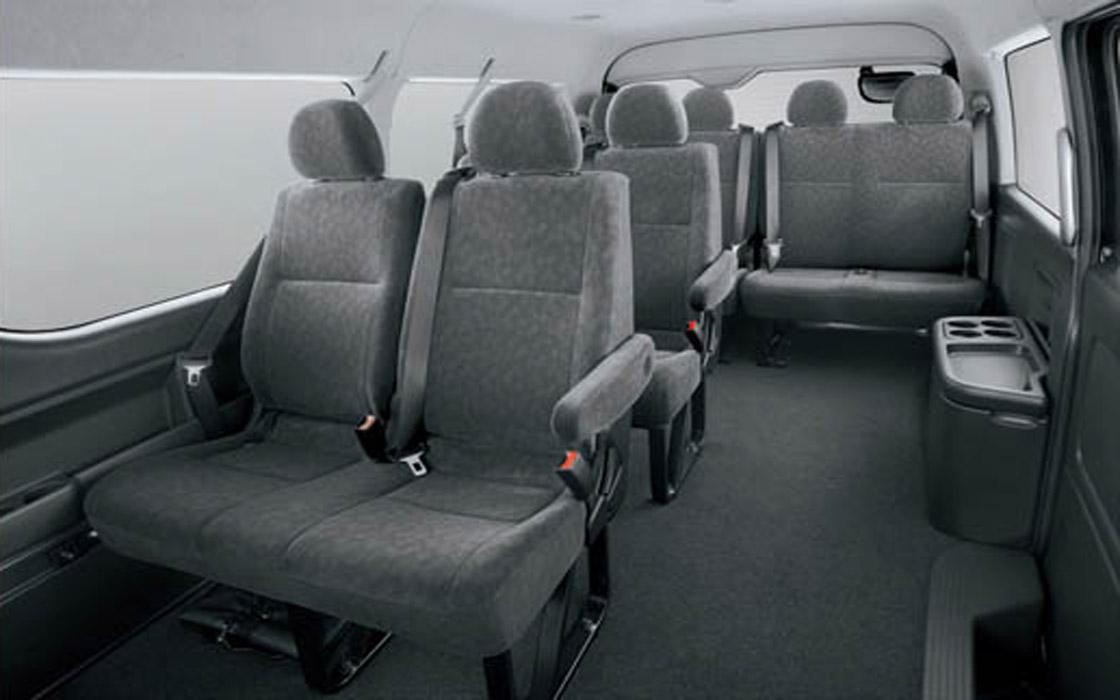 Toyota Hi-Ace Backseats I Rent-A-Car Palawan